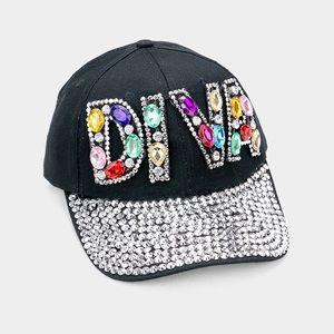 """DIVA"""" Bling Stone Embellished Denim Baseball Cap"""